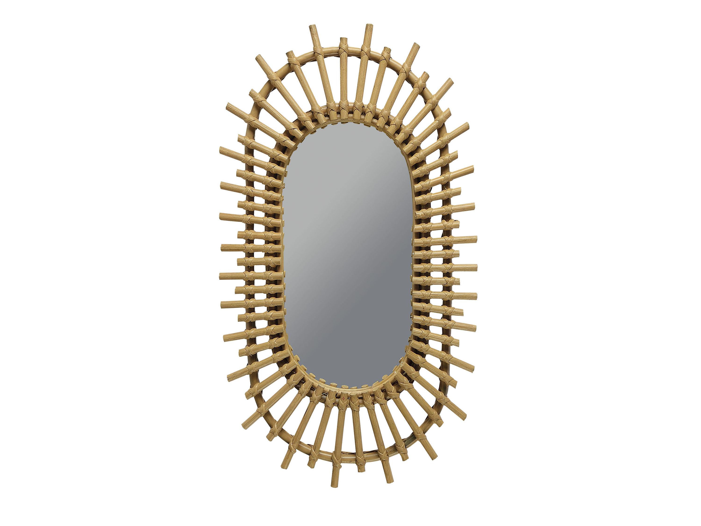 Miroir oval en rotin, H 56 cm, 79 €, Jardin d'Ulysse.