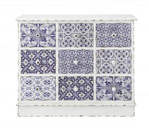 Commode Majorelle 9 tiroirs en bois, 100 x 40 x H 82 cm, 349, 90 €, Maisons du monde www.maisonsdumonde.com